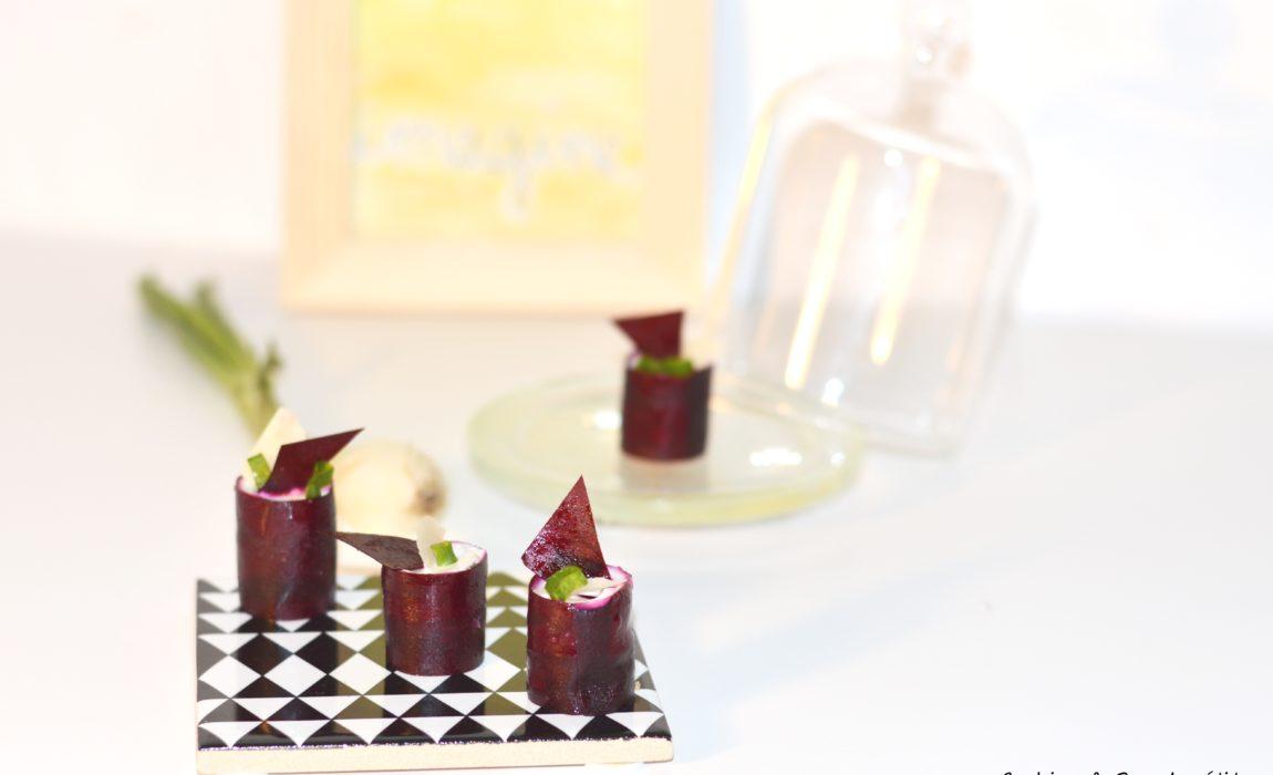 Petit four betterave, échalote, polenta et crème de parmesan {#Folion}